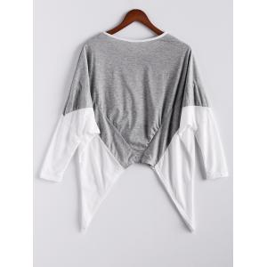 Fashion Style Color Block Splice Irregular Hem Loose Fit Women's Blouse -