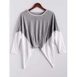 Fashion Style Color Block Splice Irregular Hem Loose Fit Women's Blouse - Gray - One Size