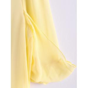 Scoop Neck 3/4 Sleeves Chiffon Color Block Sweet Style Women's Blouse - YELLOW M