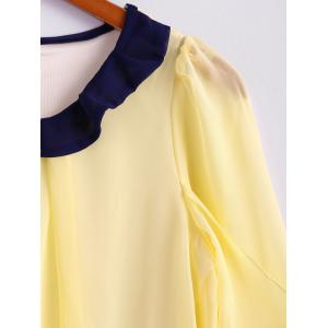 Scoop Neck 3/4 Sleeves Chiffon Color Block Sweet Style Women's Blouse -
