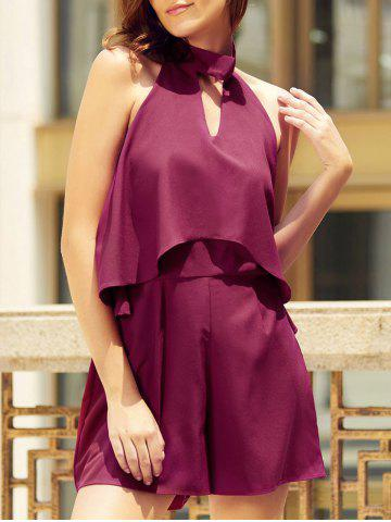 Online Trendy Halter Neck Sleeveless Solid Color Backless Flounced Romper For Women