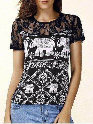 Discount Trendy Jewel Neck Short Sleeve Lace Panelled Print Blouse For Women