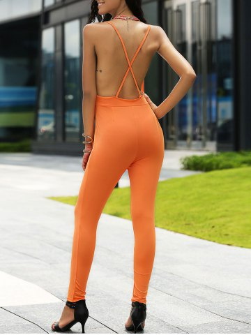 Online Stylish Plunging Neck Backless Jumpsuit For Women