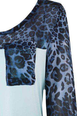 Affordable Stylish Scoop Neck 3/4 Sleeve Leopard Print T-Shirt For Women - M BLUE Mobile