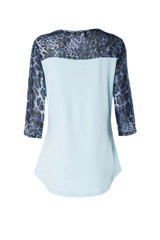 Discount Stylish Scoop Neck 3/4 Sleeve Leopard Print T-Shirt For Women - M BLUE Mobile