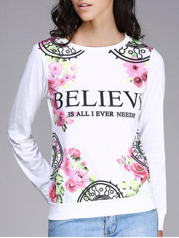 Affordable Refreshing Round Neck Long Sleeve Floral Print Women's Sweatshirt