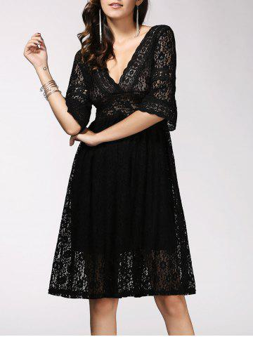 Latest Fashionable Plunging Neck Hollow Out Pure Color Women's Dress