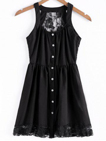 Shops Stylish Straps Single-Breasted Solid Color Lace Splicing Women's Dress