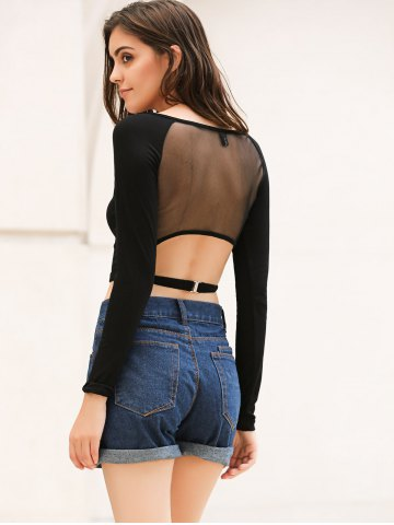 Fancy Long Sleeve Mesh Saree Blouse Crop Top - S BLACK Mobile