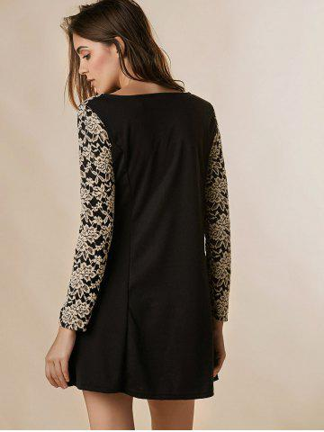 Hot Lace Splicing Nipped Waist Long Sleeve Round Neck Women's Dress - ONE SIZE BLACK Mobile