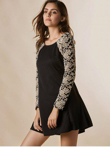 Buy Lace Splicing Nipped Waist Long Sleeve Round Neck Women's Dress - ONE SIZE BLACK Mobile