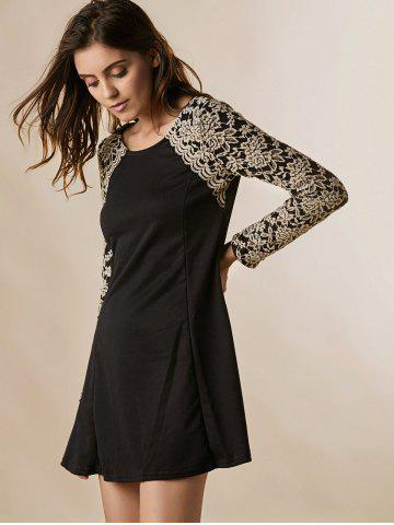 Store Lace Splicing Nipped Waist Long Sleeve Round Neck Women's Dress - ONE SIZE BLACK Mobile