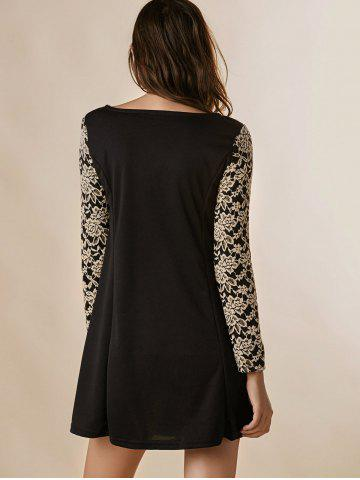 Best Lace Splicing Nipped Waist Long Sleeve Round Neck Women's Dress - ONE SIZE BLACK Mobile