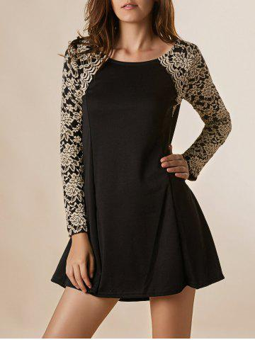 Chic Lace Splicing Nipped Waist Long Sleeve Round Neck Women's Dress BLACK ONE SIZE