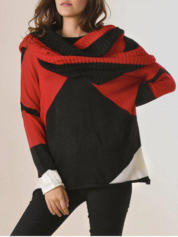 Buy Trendy Style Scoop Collar Long Sleeve Color Block with Scarf Women's Sweater