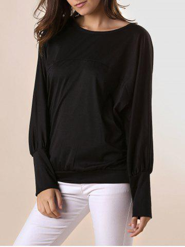 Unique Stylish Scoop Neck Batwing Sleeves Solid Color T-Shirt For Women - 2XL BLACK Mobile