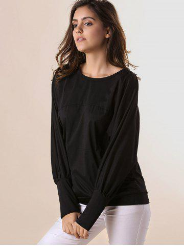Outfit Stylish Scoop Neck Batwing Sleeves Solid Color T-Shirt For Women - 2XL BLACK Mobile