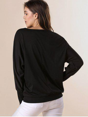 Chic Stylish Scoop Neck Batwing Sleeves Solid Color T-Shirt For Women - 2XL BLACK Mobile