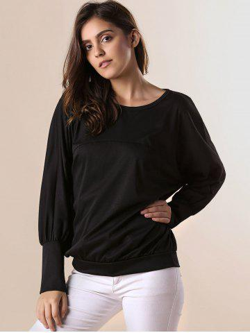 Fashion Stylish Scoop Neck Batwing Sleeves Solid Color T-Shirt For Women - 2XL BLACK Mobile