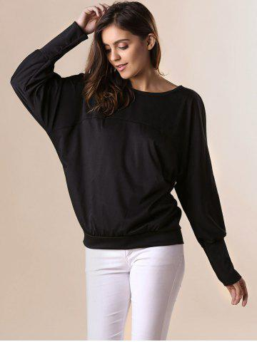Cheap Stylish Scoop Neck Batwing Sleeves Solid Color T-Shirt For Women - 2XL BLACK Mobile
