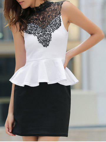 Store Sexy Stand Collar Lace Splicing Color Block Peplum Dress For Women