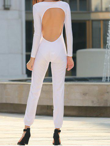 Online Sexy U Neck Long Sleeve Backless Jumpsuit For Women
