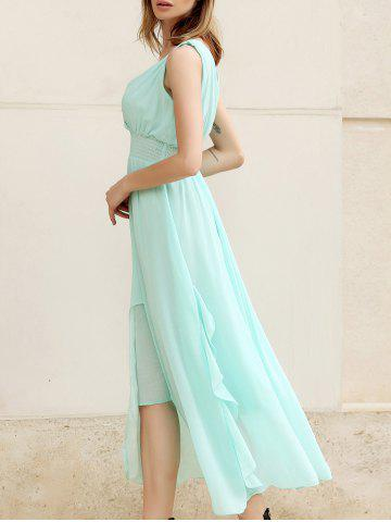 Unique Charming Low-Cut Sleeveless Women's Chiffon Long Dresses SKY BLUE L
