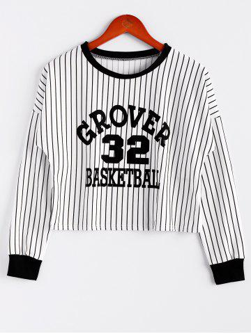 Hot Stripe Letter Print Color Block Cotton Blend Casual Style Long Sleeves Women's Sweatshirt