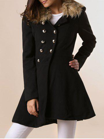 Outfits Women Woolen Winter Trench Double Button Coat BLACK M