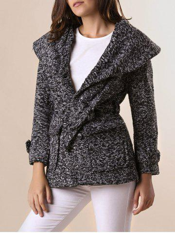 New Graceful Turn-Down Collar Thicken Worsted Double-Breasted Long Sleeve Coat with Belt For Women BLACK L