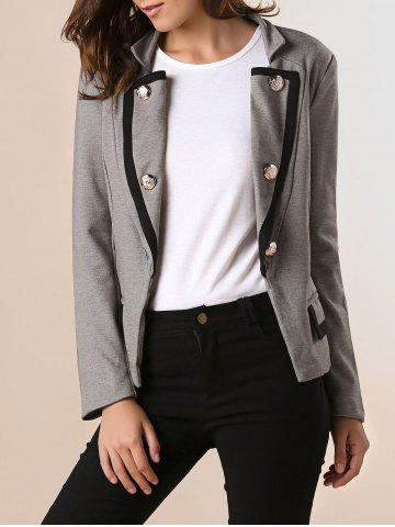 Hot Ladylike OL Style Stand Collar Solid Color Double-breasted Long Sleeves Slimming Women's Blazer