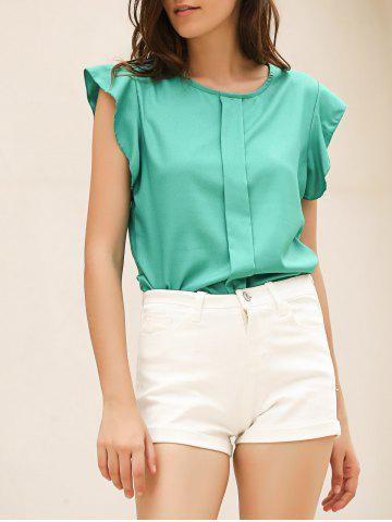 Hot Candy Color Loose Leisure Women's Chiffon Short Tulip Sleeve Blouse Tops GREEN M