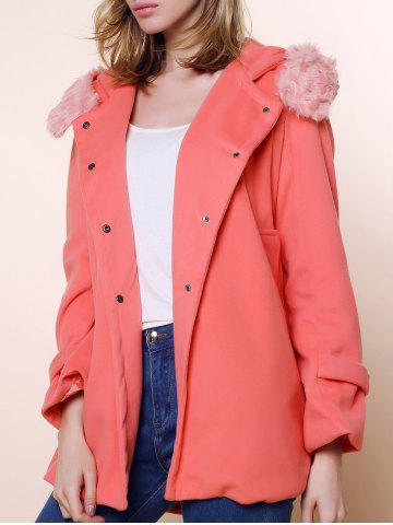 Shop Solid Color Stunning Style Worsted Long Sleeves Bow Tie Women's Coat PINK M
