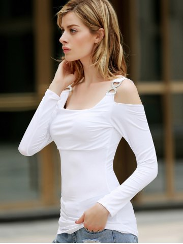 Sale Solid Color Cut Out Polyester Long Sleeves Women's T-Shirt - ONE SIZE WHITE Mobile