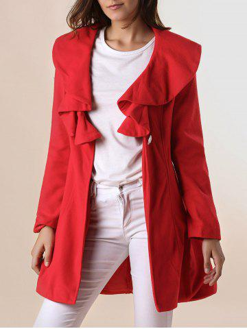 Chic Long Sleeves Ruffles Lapel Beam Waist Long Sections Stylish Women's Trench Coat RED L