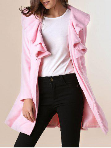 Shops Long Sleeves Ruffles Lapel Beam Waist Long Sections Stylish Women's Trench Coat