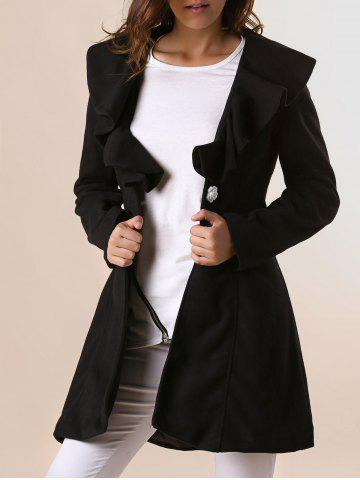 Online Long Sleeves Ruffles Lapel Beam Waist Long Sections Stylish Women's Trench Coat BLACK M