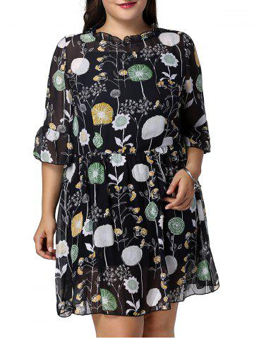 Hot Sweet Plus Size Flare Sleeve Floral Print Women's Dress