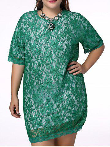 Discount Sweet Plus Size Half Sleeve Lace Design Women's Dress