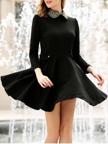 Fashion Collared Puff Long Sleeves Ruffles Casual Dress