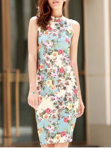 Cheap Vintage Stand-Up Collar Sleeveless Floral Print Women's Dress