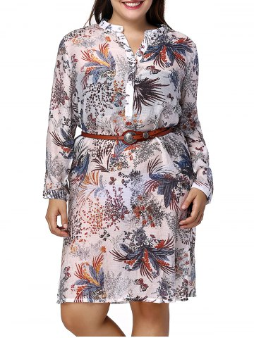 Outfit Chic Plus Size Long Sleeve Plant Print Side Slit Women's Shirt