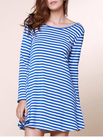 Stylish Scoop Neck Stripe Print Backless Long Sleeve Dress For Women - Blue - M