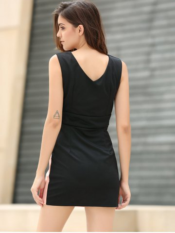 Hot Straps Four Buttons Low-Cut Sleeveless Bodycon Dress - ONE SIZE PINK Mobile