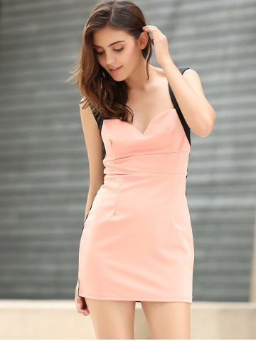 Online Straps Four Buttons Low-Cut Sleeveless Bodycon Dress - ONE SIZE PINK Mobile