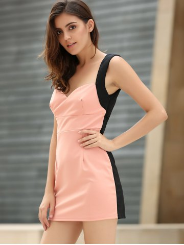 Latest Straps Four Buttons Low-Cut Sleeveless Bodycon Dress - ONE SIZE PINK Mobile