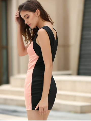 Outfits Straps Four Buttons Low-Cut Sleeveless Bodycon Dress - ONE SIZE PINK Mobile