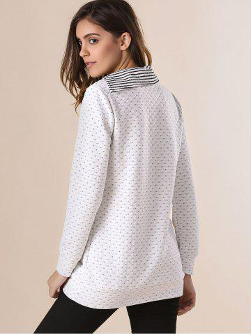 Best Stylish Pinstripe Turn-Down Collar Long Sleeve Double-Breasted Women's Sweatshirt - ONE SIZE(FIT SIZE XS TO M) OFF-WHITE Mobile