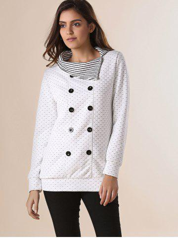 Outfits Stylish Pinstripe Turn-Down Collar Long Sleeve Double-Breasted Women's Sweatshirt - ONE SIZE(FIT SIZE XS TO M) OFF-WHITE Mobile
