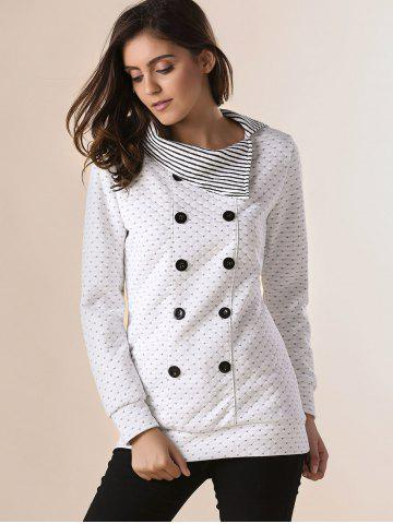 New Stylish Pinstripe Turn-Down Collar Long Sleeve Double-Breasted Women's Sweatshirt - ONE SIZE(FIT SIZE XS TO M) OFF-WHITE Mobile